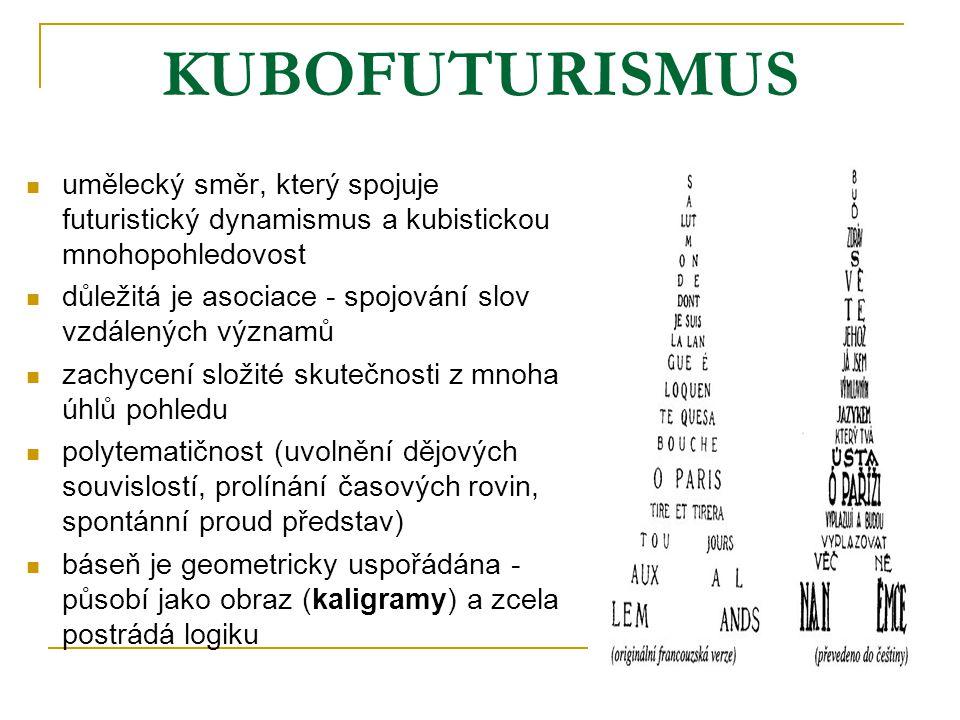 KUBOFUTURISMUS umělecký směr, který spojuje futuristický dynamismus a kubistickou mnohopohledovost důležitá je asociace - spojování slov vzdálených vý