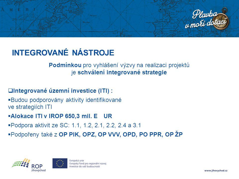 INTEGROVANÉ NÁSTROJE Podmínkou pro vyhlášení výzvy na realizaci projektů je schválení integrované strategie  Integrované územní investice (ITI) :  B