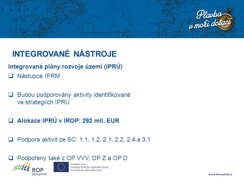 INTEGROVANÉ NÁSTROJE Integrované plány rozvoje území (IPRÚ)  Nástupce IPRM  Budou podporovány aktivity identifikované ve strategiích IPRÚ  Alokace