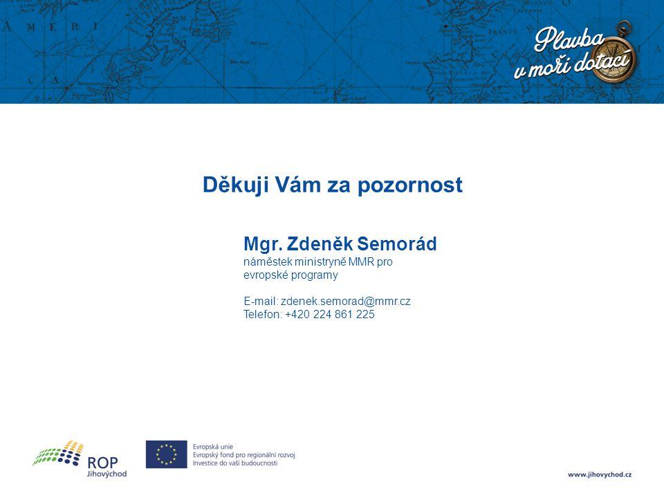 Děkuji Vám za pozornost Mgr. Zdeněk Semorád náměstek ministryně MMR pro evropské programy E-mail: zdenek.semorad@mmr.cz Telefon: +420 224 861 225