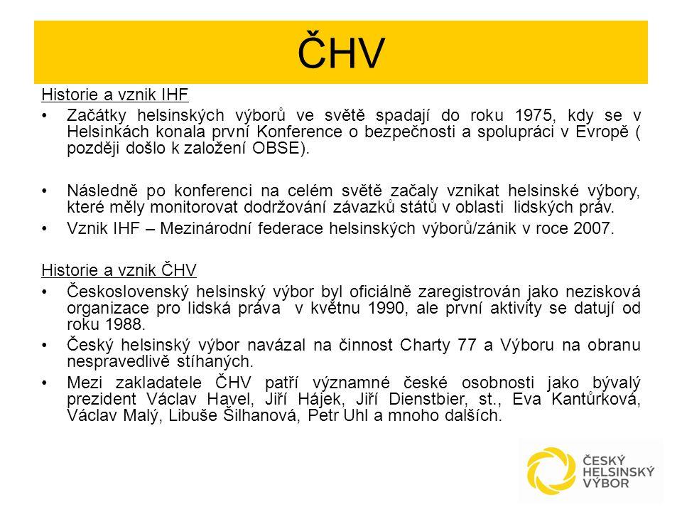 ČHV Historie a vznik IHF Začátky helsinských výborů ve světě spadají do roku 1975, kdy se v Helsinkách konala první Konference o bezpečnosti a spolupr