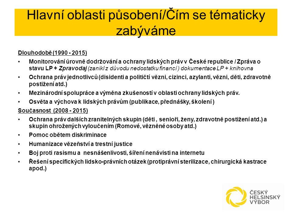 Hlavní oblasti působení/Čím se tématicky zabýváme Dlouhodobě (1990 - 2015) Monitorování úrovně dodržování a ochrany lidských práv v České republice / Zpráva o stavu LP + Zpravodaj (zanikl z důvodu nedostatku financí ) dokumentace LP + knihovna Ochrana práv jednotlivců (disidenti a političtí vězni, cizinci, azylanti, vězni, děti, zdravotně postižení atd.) Mezinárodní spolupráce a výměna zkušeností v oblasti ochrany lidských práv.