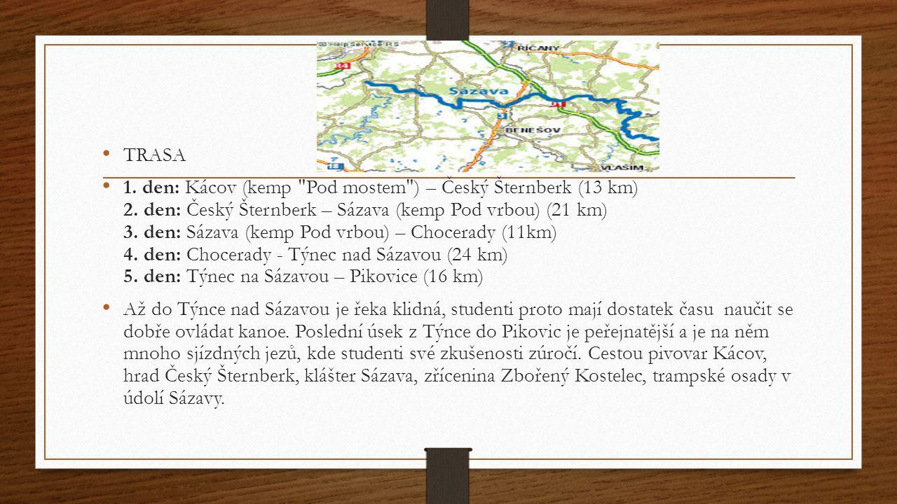 TRASA 1. den: Kácov (kemp Pod mostem ) – Český Šternberk (13 km) 2.
