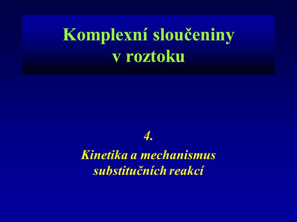 Komplexní sloučeniny v roztoku 4. Kinetika a mechanismus substitučních reakcí