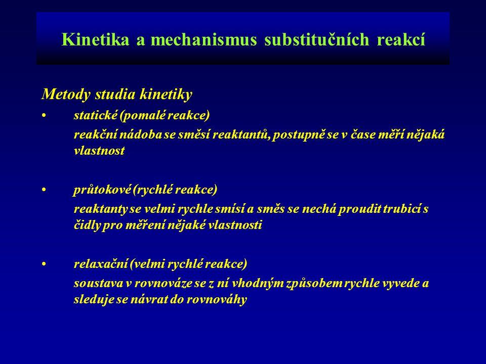 Kinetika a mechanismus substitučních reakcí Metody studia kinetiky statické (pomalé reakce) reakční nádoba se směsí reaktantů, postupně se v čase měří