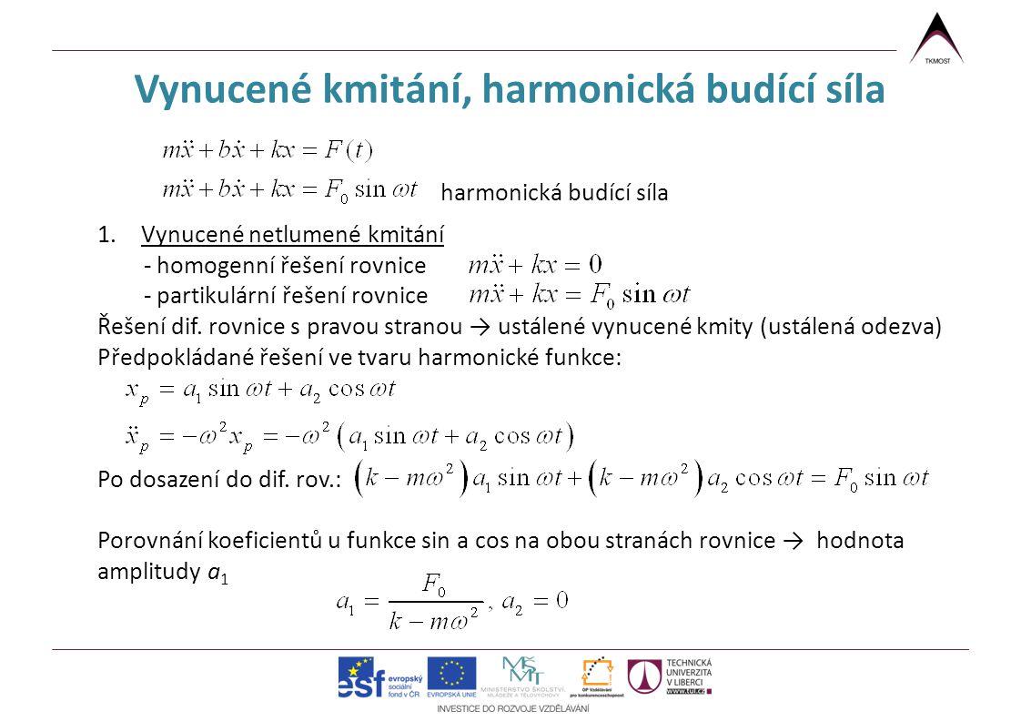 Vynucené kmitání, harmonická budící síla harmonická budící síla 1.Vynucené netlumené kmitání - homogenní řešení rovnice - partikulární řešení rovnice