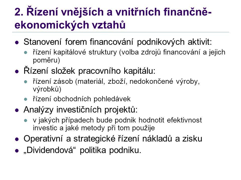 2. Řízení vnějších a vnitřních finančně- ekonomických vztahů Stanovení forem financování podnikových aktivit: řízení kapitálové struktury (volba zdroj