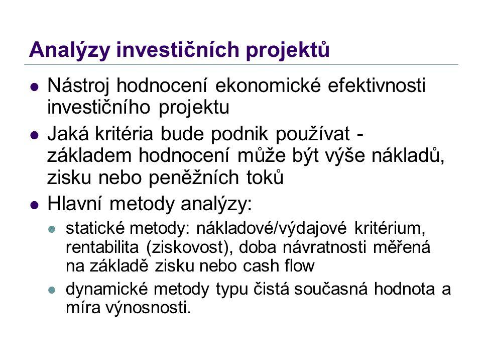 Analýzy investičních projektů Nástroj hodnocení ekonomické efektivnosti investičního projektu Jaká kritéria bude podnik používat - základem hodnocení
