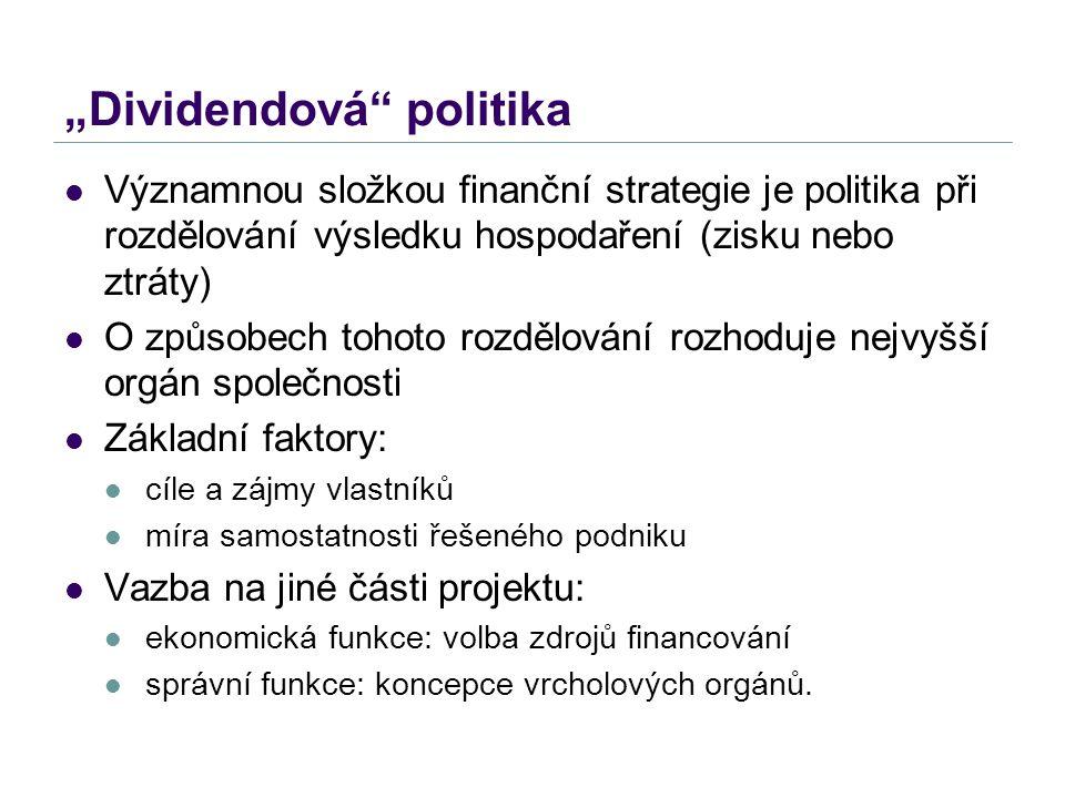 """""""Dividendová"""" politika Významnou složkou finanční strategie je politika při rozdělování výsledku hospodaření (zisku nebo ztráty) O způsobech tohoto ro"""