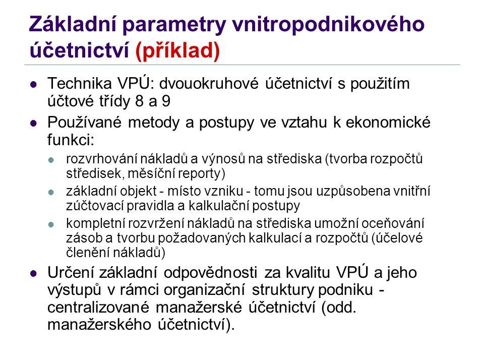 Základní parametry vnitropodnikového účetnictví (příklad) Technika VPÚ: dvouokruhové účetnictví s použitím účtové třídy 8 a 9 Používané metody a postu