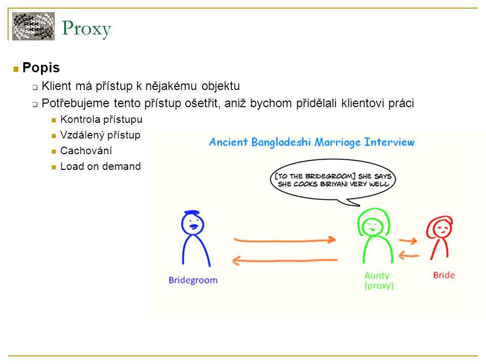 Popis  Klient má přístup k nějakému objektu  Potřebujeme tento přístup ošetřit, aniž bychom přidělali klientovi práci Kontrola přístupu Vzdálený pří