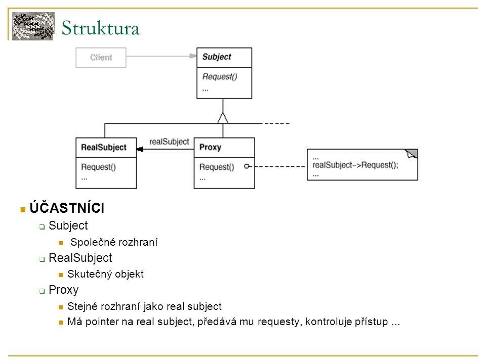 Struktura ÚČASTNÍCI  Subject Společné rozhraní  RealSubject Skutečný objekt  Proxy Stejné rozhraní jako real subject Má pointer na real subject, př