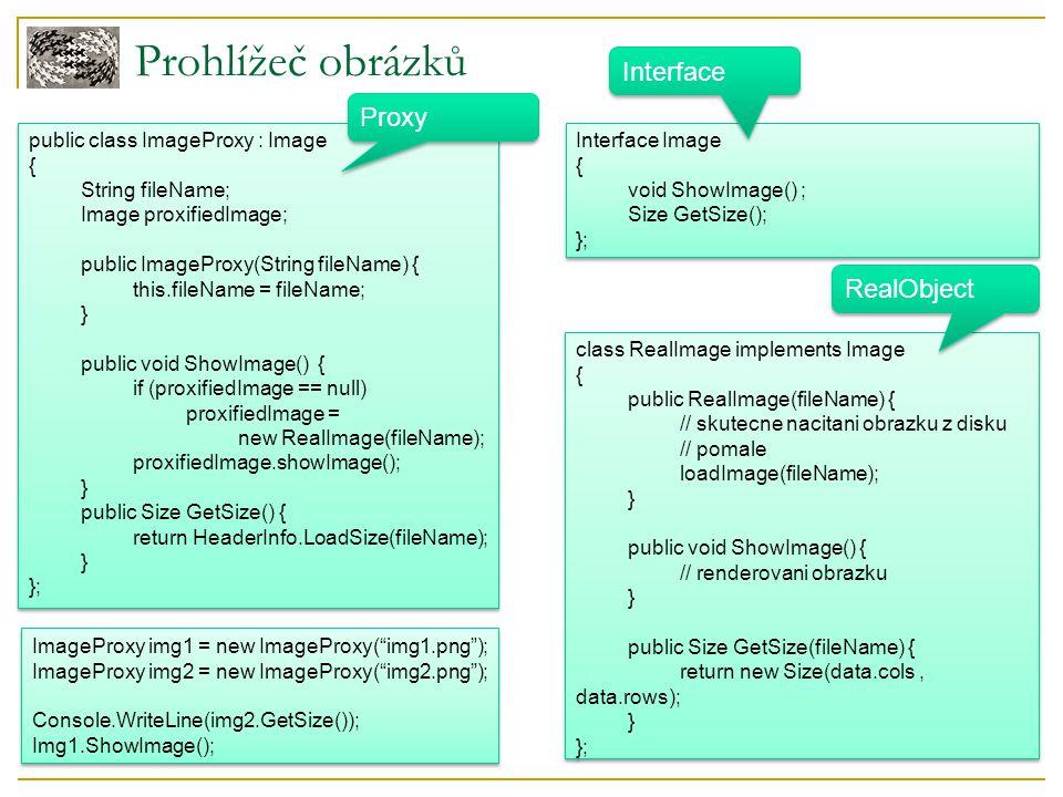 Prohlížeč obrázků Interface Image { void ShowImage() ; Size GetSize(); }; Interface Image { void ShowImage() ; Size GetSize(); }; class RealImage impl