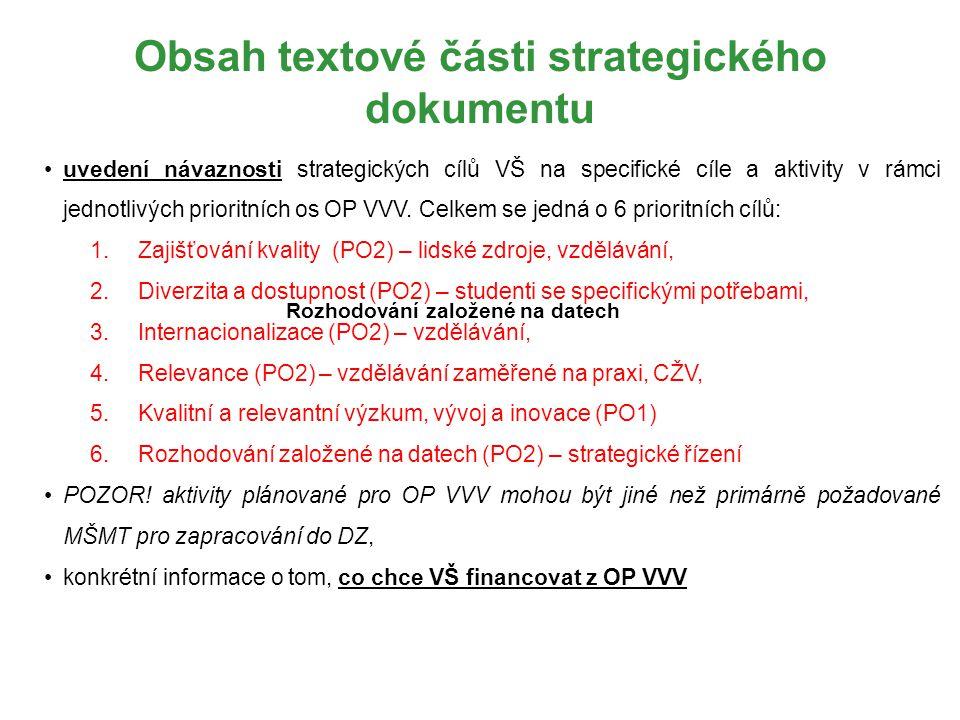 Obsah textové části strategického dokumentu uvedení návaznosti strategických cílů VŠ na specifické cíle a aktivity v rámci jednotlivých prioritních os