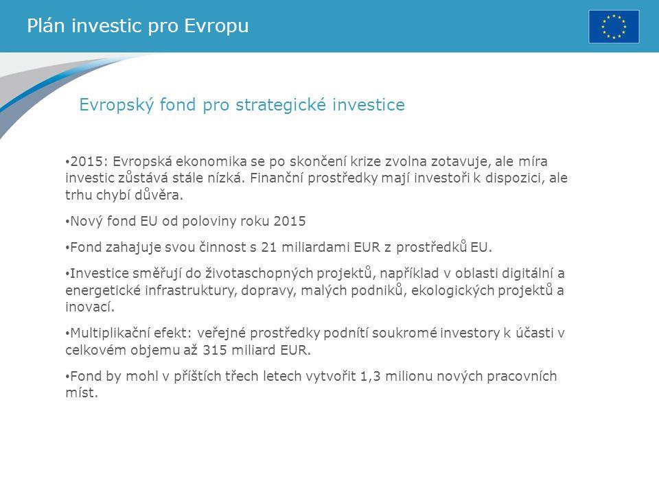 Plán investic pro Evropu Evropský fond pro strategické investice 2015: Evropská ekonomika se po skončení krize zvolna zotavuje, ale míra investic zůst