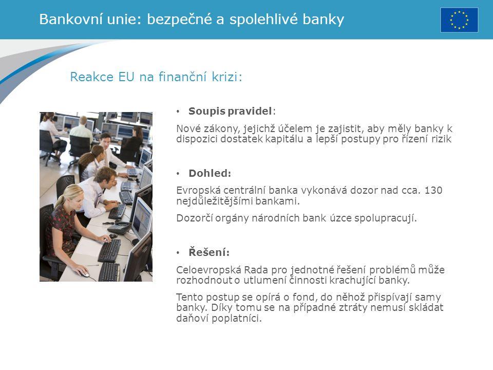 Bankovní unie: bezpečné a spolehlivé banky Reakce EU na finanční krizi: Soupis pravidel: Nové zákony, jejichž účelem je zajistit, aby měly banky k dis
