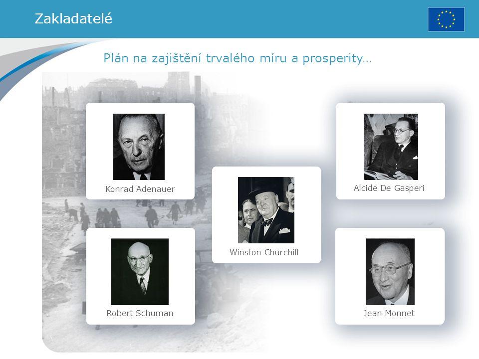 Konrad Adenauer Robert Schuman Winston Churchill Alcide De Gasperi Jean Monnet Plán na zajištění trvalého míru a prosperity… Zakladatelé