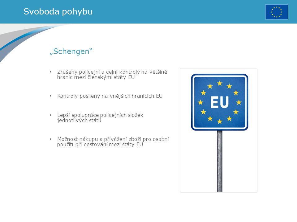 """Svoboda pohybu """"Schengen"""" Zrušeny policejní a celní kontroly na většině hranic mezi členskými státy EU Kontroly posíleny na vnějších hranicích EU Lepš"""