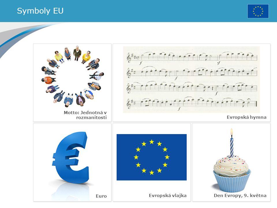 Symboly EU Evropská vlajka Evropská hymna Euro Den Evropy, 9. května Motto: Jednotná v rozmanitosti