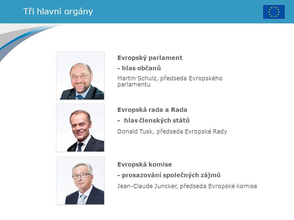 Tři hlavní orgány Evropský parlament - hlas občanů Martin Schulz, předseda Evropského parlamentu Evropská rada a Rada - hlas členských států Donald Tu
