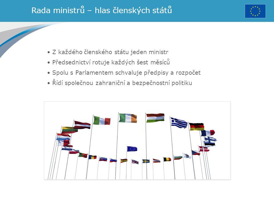 Rada ministrů – hlas členských států Z každého členského státu jeden ministr Předsednictví rotuje každých šest měsíců Spolu s Parlamentem schvaluje př