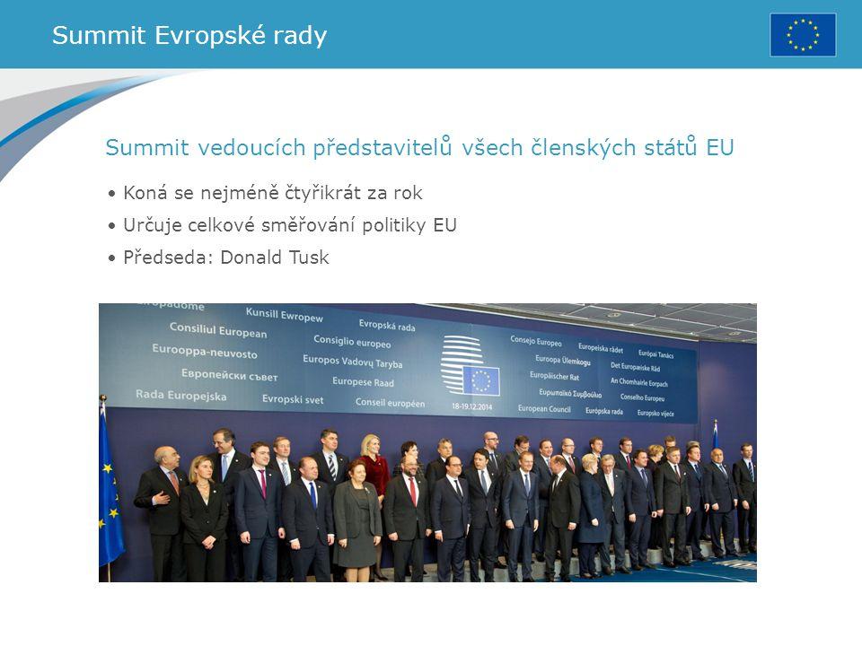 Summit Evropské rady Koná se nejméně čtyřikrát za rok Určuje celkové směřování politiky EU Předseda: Donald Tusk Summit vedoucích představitelů všech