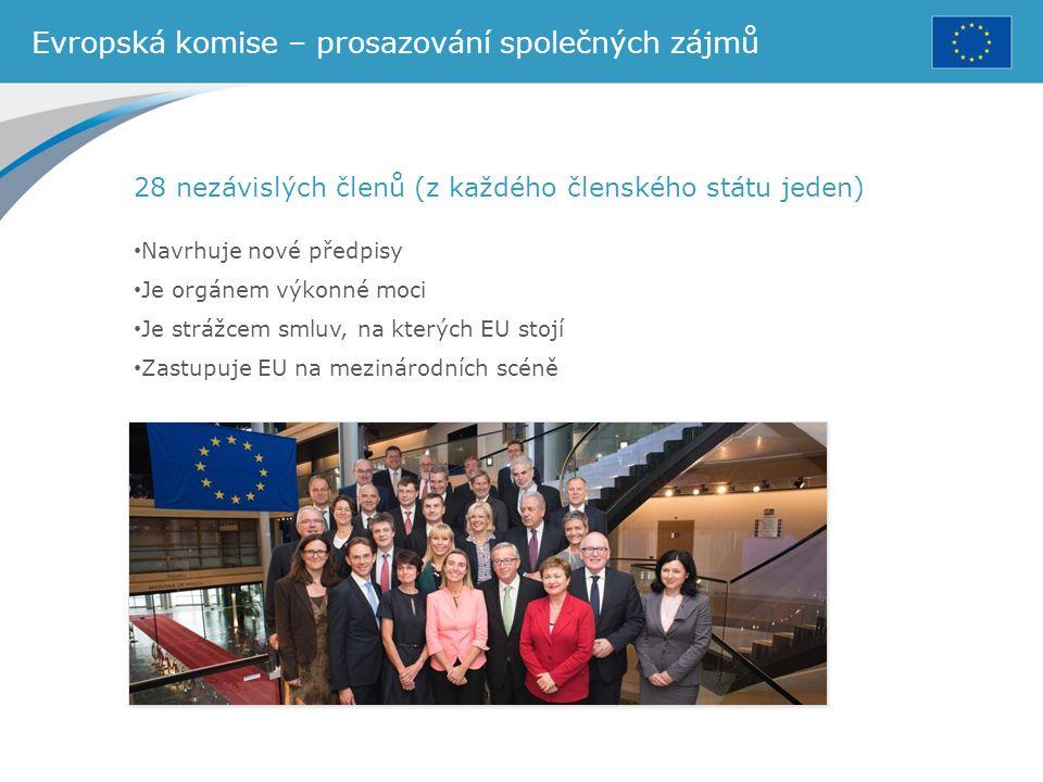 Evropská komise – prosazování společných zájmů 28 nezávislých členů (z každého členského státu jeden) Navrhuje nové předpisy Je orgánem výkonné moci J