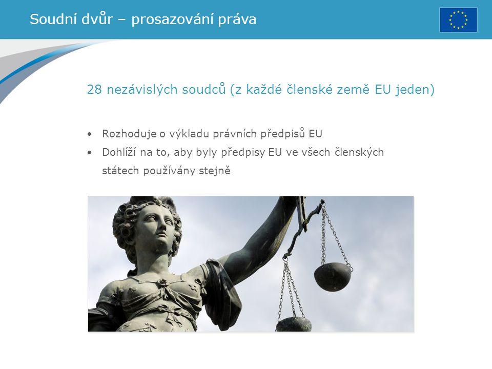 Soudní dvůr – prosazování práva 28 nezávislých soudců (z každé členské země EU jeden) Rozhoduje o výkladu právních předpisů EU Dohlíží na to, aby byly