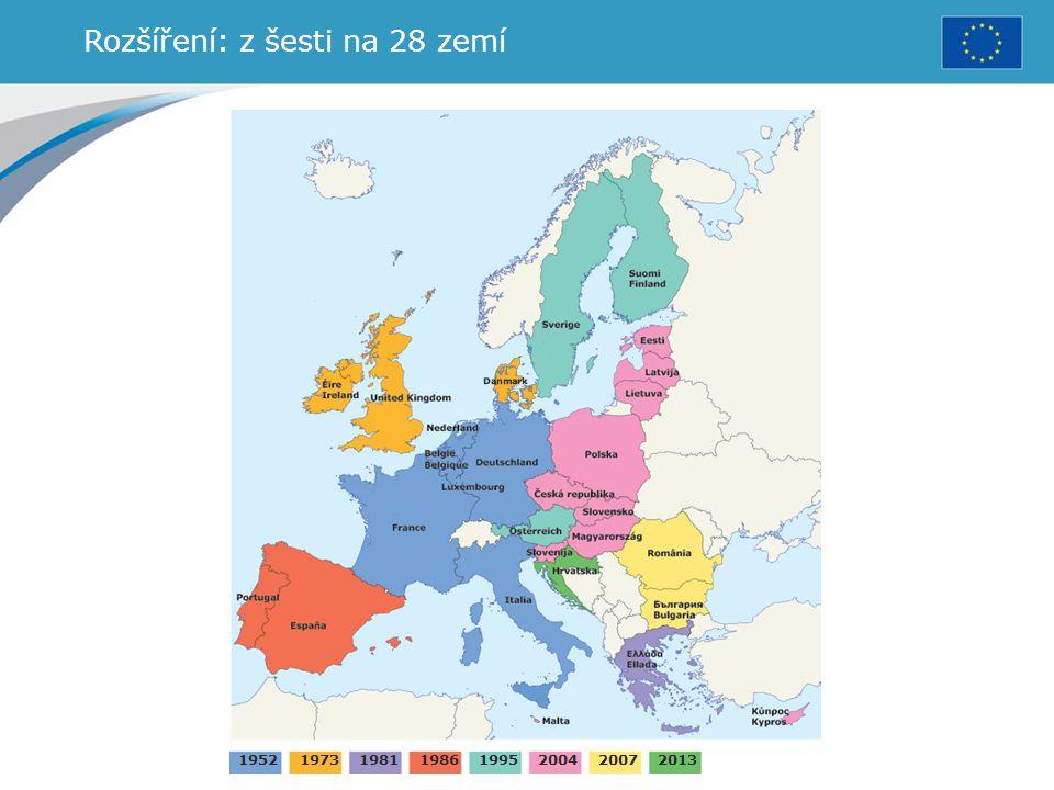 Rozšíření: z šesti na 28 zemí