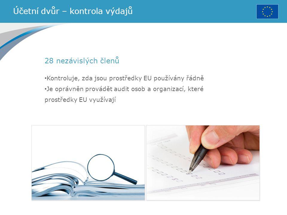 Účetní dvůr – kontrola výdajů 28 nezávislých členů Kontroluje, zda jsou prostředky EU používány řádně Je oprávněn provádět audit osob a organizací, kt