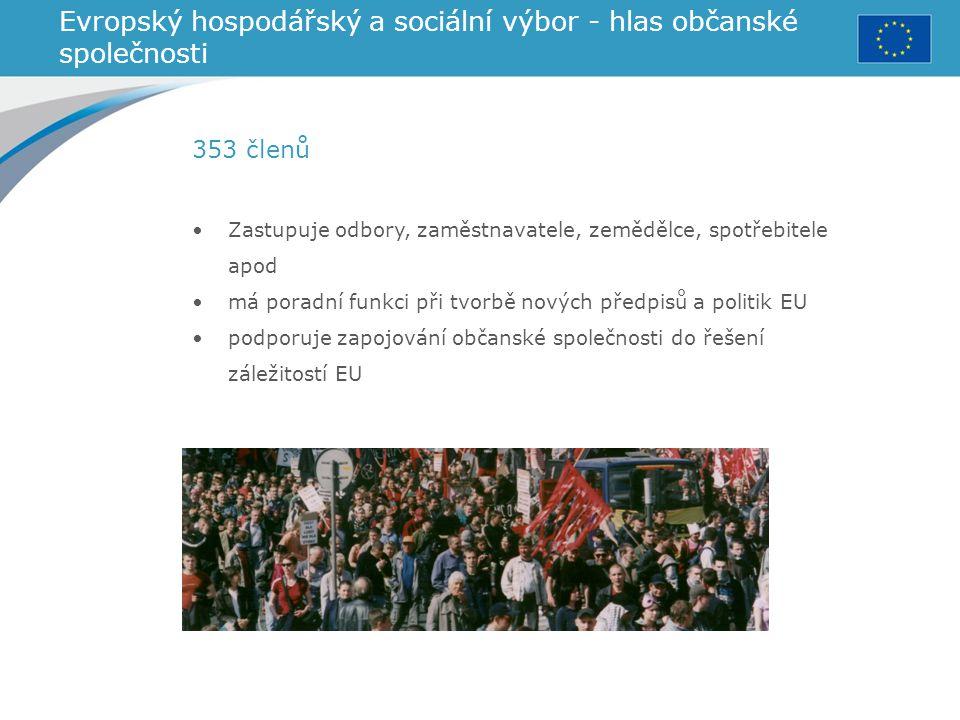 Evropský hospodářský a sociální výbor - hlas občanské společnosti Zastupuje odbory, zaměstnavatele, zemědělce, spotřebitele apod má poradní funkci při