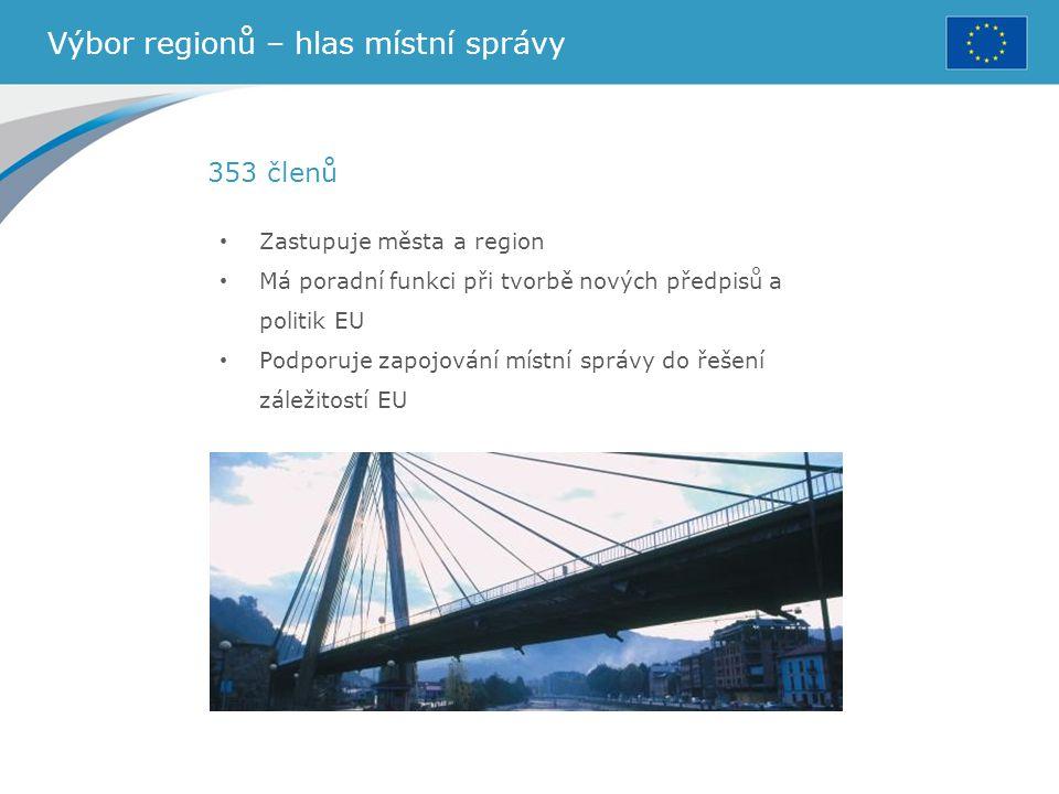 Výbor regionů – hlas místní správy Zastupuje města a region Má poradní funkci při tvorbě nových předpisů a politik EU Podporuje zapojování místní sprá