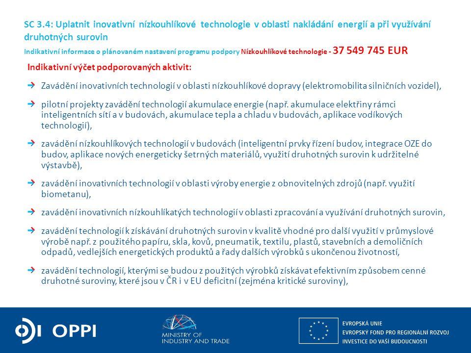 Ing. Martin Kocourek ministr průmyslu a obchodu ZPĚT NA VRCHOL – INSTITUCE, INOVACE A INFRASTRUKTURA Indikativní výčet podporovaných aktivit: Zavádění