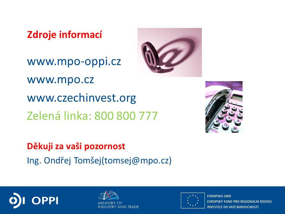 Ing. Martin Kocourek ministr průmyslu a obchodu ZPĚT NA VRCHOL – INSTITUCE, INOVACE A INFRASTRUKTURA Zdroje informací www.mpo-oppi.cz www.mpo.cz www.c