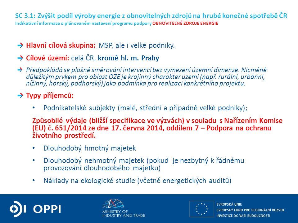 Hlavní cílová skupina: MSP, ale i velké podniky. Cílové území: celá ČR, kromě hl.