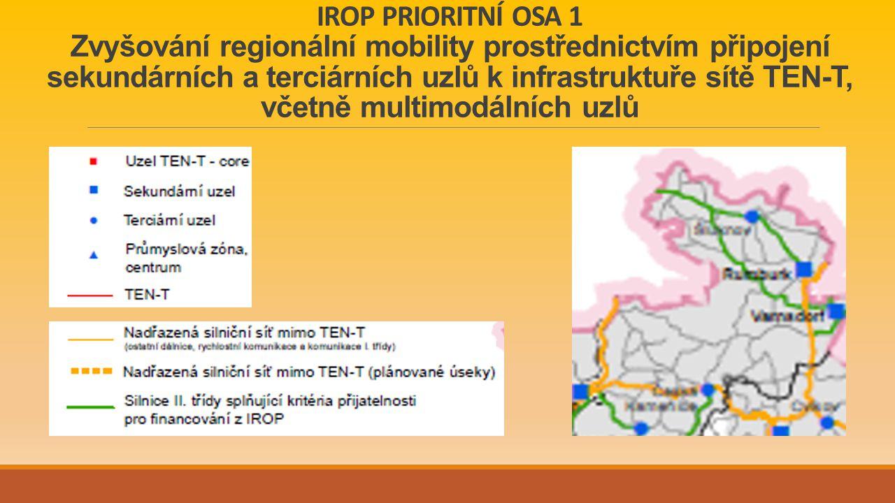 IROP PRIORITNÍ OSA 1 Zvyšování regionální mobility prostřednictvím připojení sekundárních a terciárních uzlů k infrastruktuře sítě TEN-T, včetně multimodálních uzlů