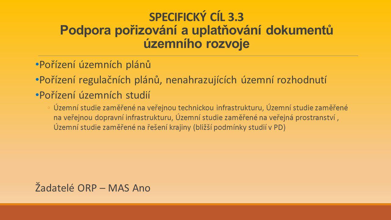 SPECIFICKÝ CÍL 3.3 Podpora pořizování a uplatňování dokumentů územního rozvoje Pořízení územních plánů Pořízení regulačních plánů, nenahrazujících územní rozhodnutí Pořízení územních studií ◦Územní studie zaměřené na veřejnou technickou infrastrukturu, Územní studie zaměřené na veřejnou dopravní infrastrukturu, Územní studie zaměřené na veřejná prostranství, Územní studie zaměřené na řešení krajiny (bližší podmínky studií v PD) Žadatelé ORP – MAS Ano