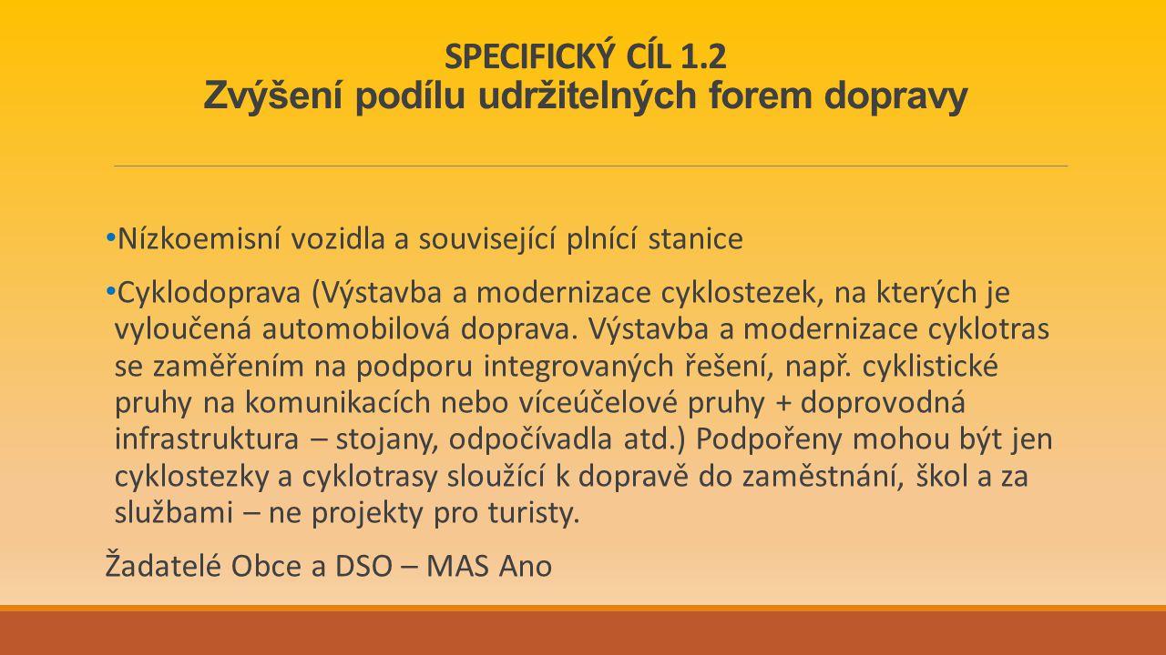 SPECIFICKÝ CÍL 1.2 Zvýšení podílu udržitelných forem dopravy Nízkoemisní vozidla a související plnící stanice Cyklodoprava (Výstavba a modernizace cyklostezek, na kterých je vyloučená automobilová doprava.