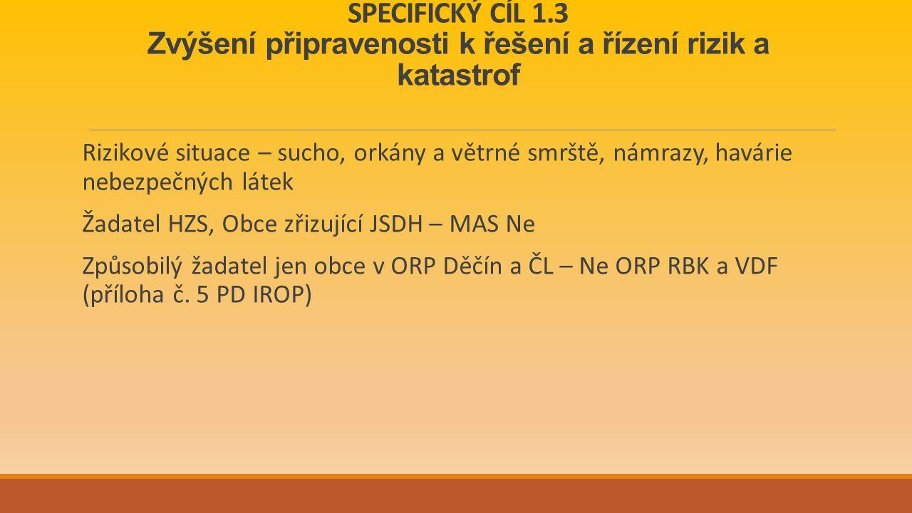 SPECIFICKÝ CÍL 1.3 Zvýšení připravenosti k řešení a řízení rizik a katastrof Rizikové situace – sucho, orkány a větrné smrště, námrazy, havárie nebezpečných látek Žadatel HZS, Obce zřizující JSDH – MAS Ne Způsobilý žadatel jen obce v ORP Děčín a ČL – Ne ORP RBK a VDF (příloha č.