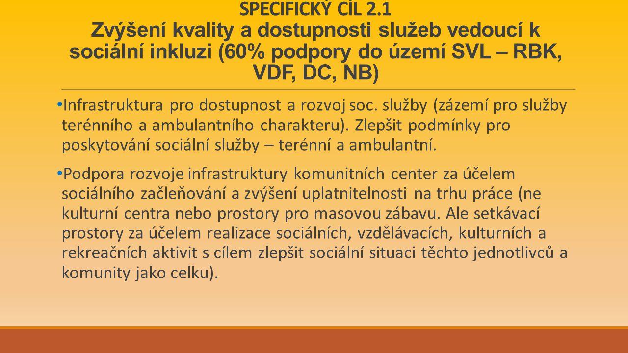 SPECIFICKÝ CÍL 2.1 Zvýšení kvality a dostupnosti služeb vedoucí k sociální inkluzi (60% podpory do území SVL – RBK, VDF, DC, NB) Infrastruktura pro dostupnost a rozvoj soc.