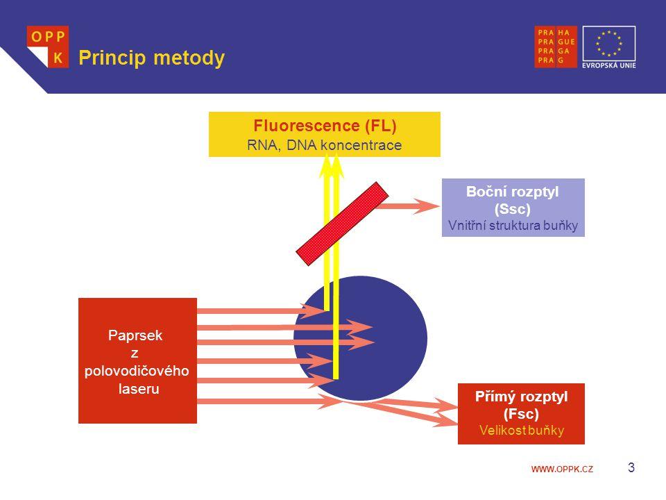 WWW.OPPK.CZ 3 Princip metody Fluorescence (FL) RNA, DNA koncentrace Boční rozptyl (Ssc) Vnitřní struktura buňky Přímý rozptyl (Fsc) Velikost buňky Pap