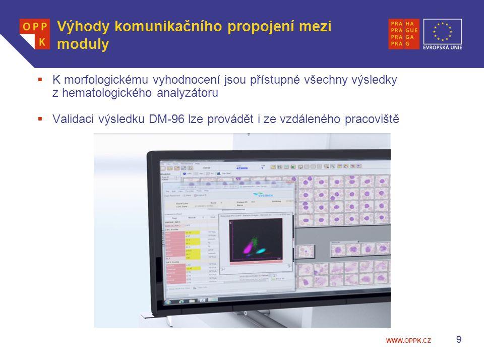 WWW.OPPK.CZ Výhody komunikačního propojení mezi moduly 9  K morfologickému vyhodnocení jsou přístupné všechny výsledky z hematologického analyzátoru