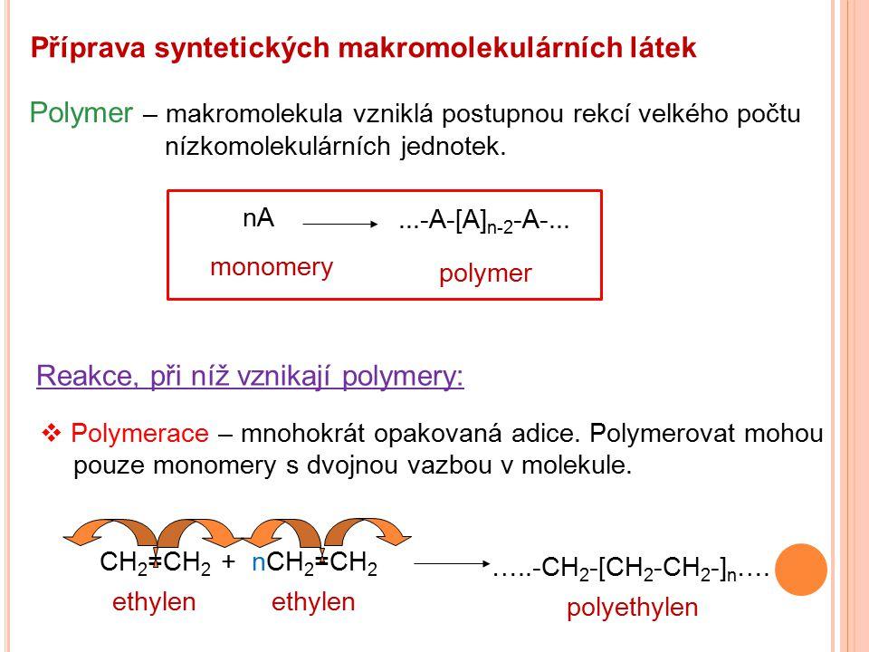 Příprava syntetických makromolekulárních látek Polymer – makromolekula vzniklá postupnou rekcí velkého počtu nízkomolekulárních jednotek. nA...-A-[A]