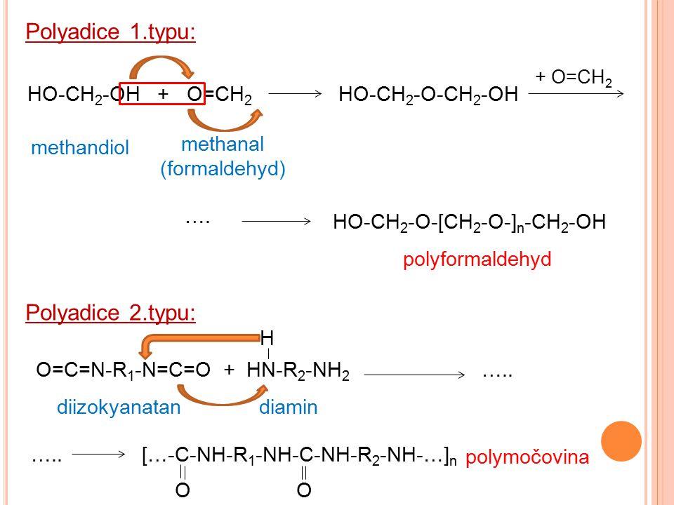 HO-CH 2 -OH + O=CH 2 Polyadice 1.typu: Polyadice 2.typu: methandiol methanal (formaldehyd) HO-CH 2 -O-CH 2 -OH + O=CH 2 …. HO-CH 2 -O-[CH 2 -O-] n -CH