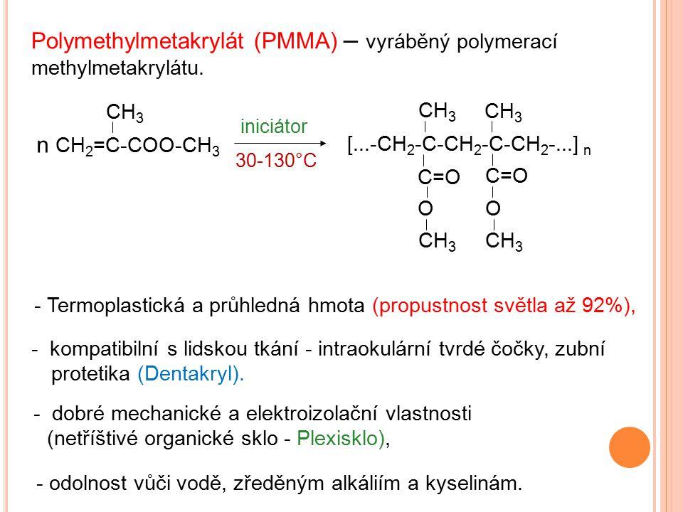 - Termoplastická a průhledná hmota (propustnost světla až 92%), Polymethylmetakrylát (PMMA) – vyráběný polymerací methylmetakrylátu. n CH 2 =C-COO-CH