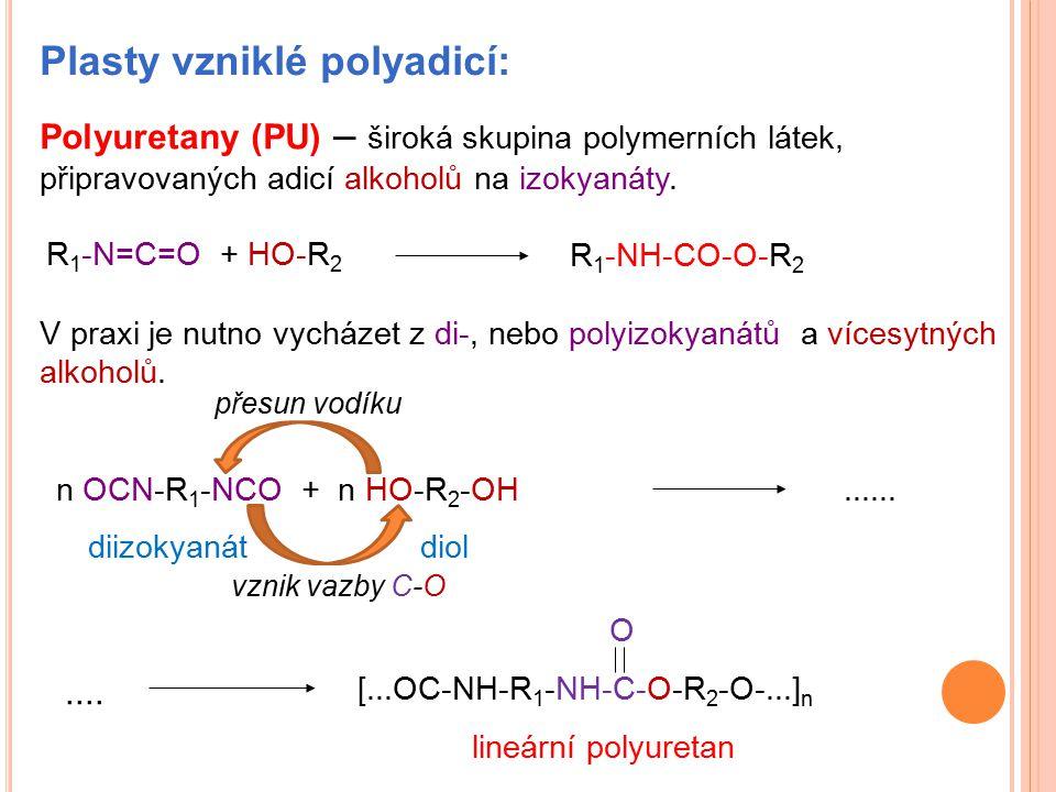 Plasty vzniklé polyadicí: Polyuretany (PU) – široká skupina polymerních látek, připravovaných adicí alkoholů na izokyanáty. R 1 -N=C=O + HO-R 2 V prax