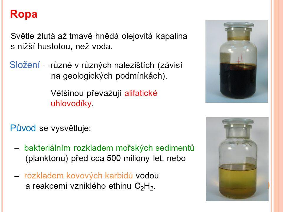 Ropa Složení – různé v různých nalezištích (závisí na geologických podmínkách). Světle žlutá až tmavě hnědá olejovitá kapalina s nižší hustotou, než v