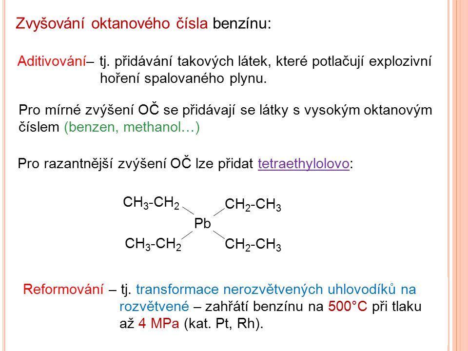 Aditivování– tj. přidávání takových látek, které potlačují explozivní hoření spalovaného plynu. Zvyšování oktanového čísla benzínu: CH 3 -CH 2 CH 2 -C