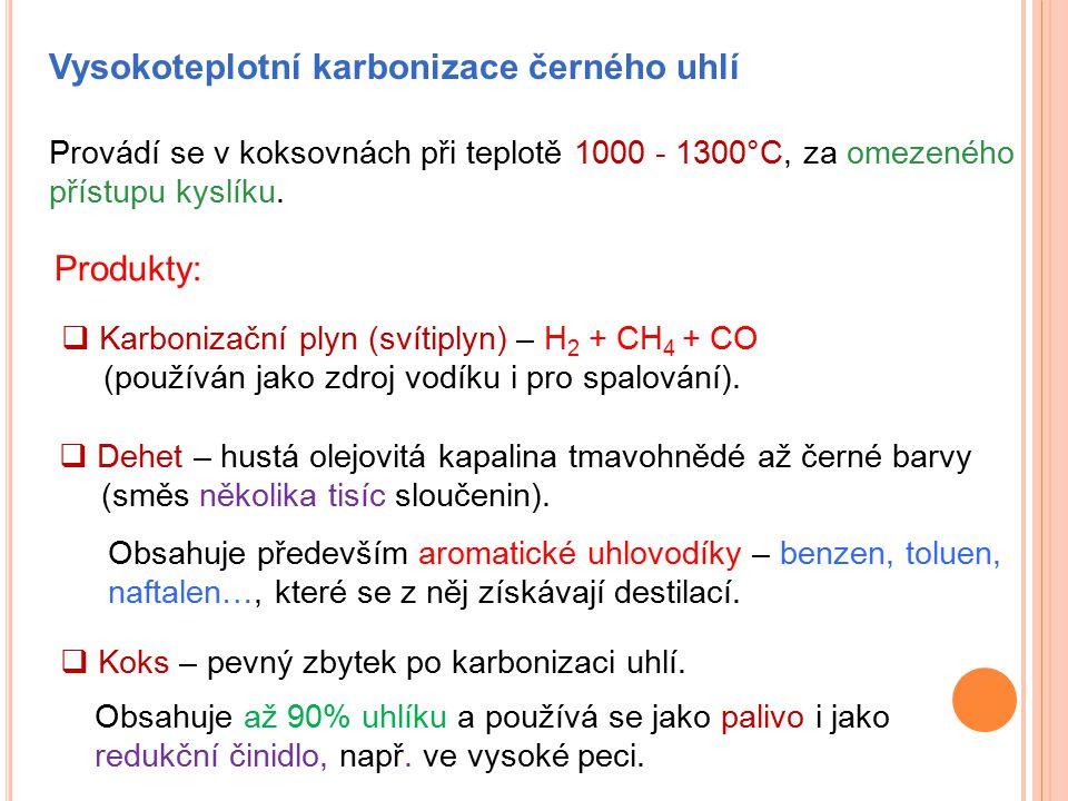 Vysokoteplotní karbonizace černého uhlí Provádí se v koksovnách při teplotě 1000 - 1300°C, za omezeného přístupu kyslíku. Produkty:  Karbonizační ply