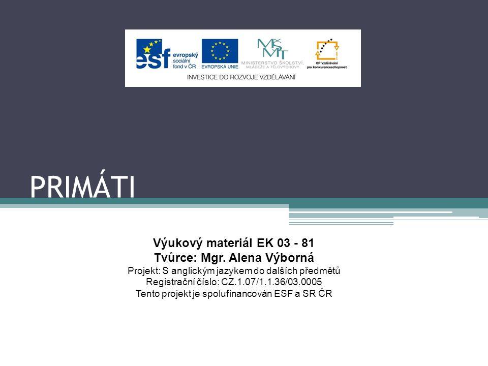 PRIMÁTI Výukový materiál EK 03 - 81 Tvůrce: Mgr. Alena Výborná Projekt: S anglickým jazykem do dalších předmětů Registrační číslo: CZ.1.07/1.1.36/03.0